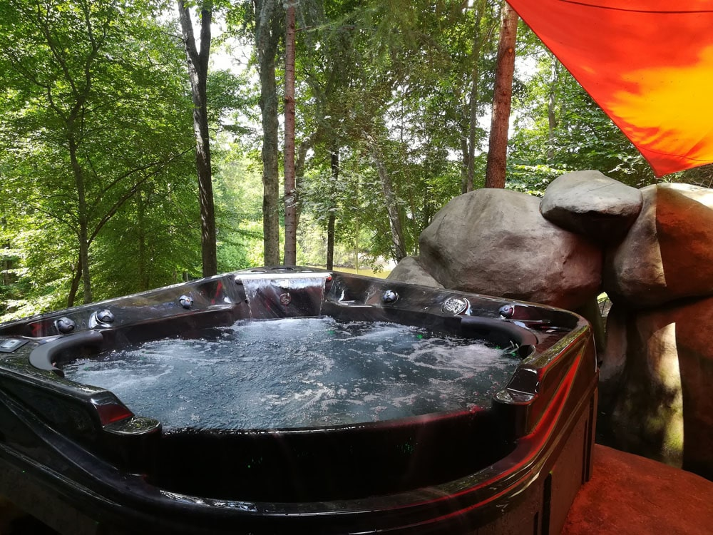 North Carolina hot tub in forest