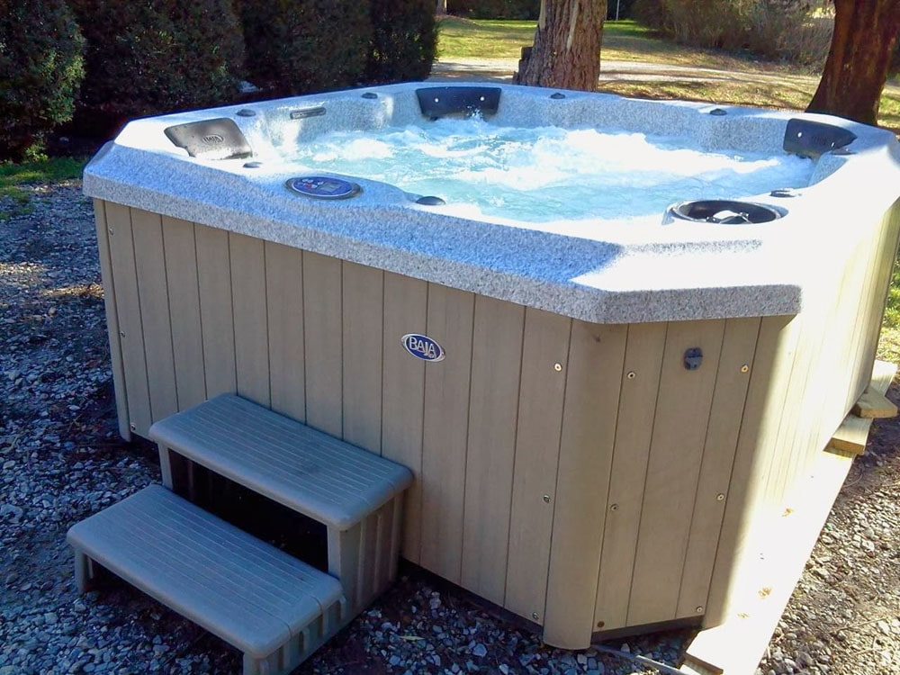 North Carolina outdoor spa with steps